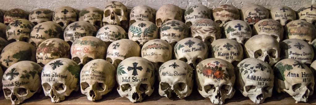Beinhaus with painted skulls, Hallstatt, Austria - Photo by Peter Szczesny