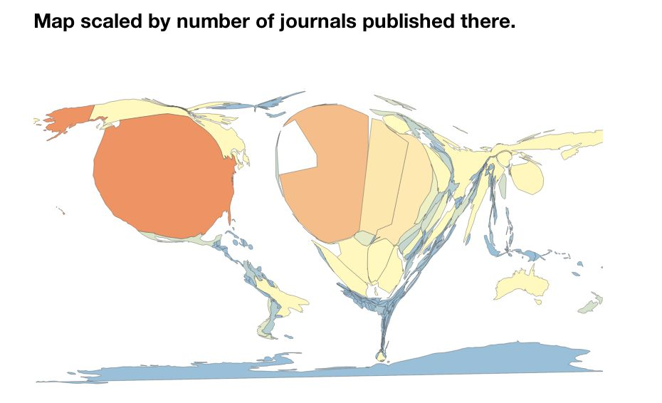 Map scaled by journal no. of articles published there