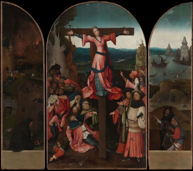 The Crucifixion of St Julia is attributed to Bosch's Middle period, c 1497