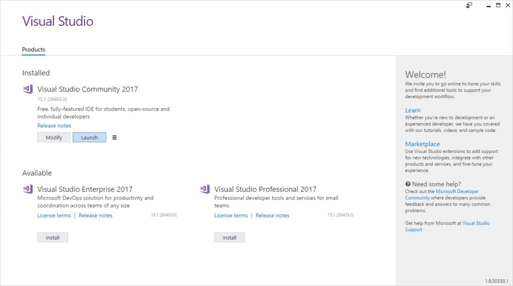安裝 Visual Studio