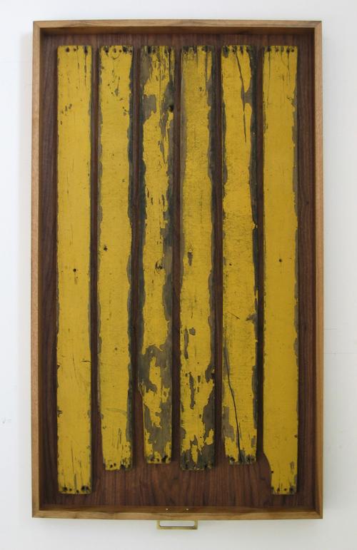 Heidi Barkun, Memoires-TCha. 2008. Recuperated wood, hardware; dark walnut drawer. 71cm x 122cm x 9cm [$1550]