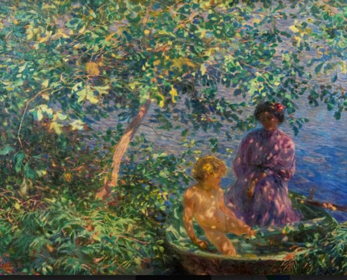 Plinio Nomellini Baci di sole 1908 olio su tela cm.93x1119 Novara Galletria d'arte moderna Giannoni