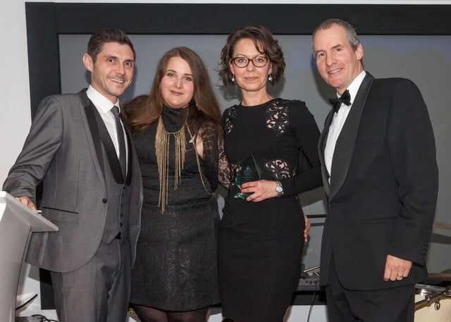 Jitka and Klaudia receive the award from Chris Barrie