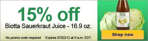 15% off Biotta Sauerkraut Juice