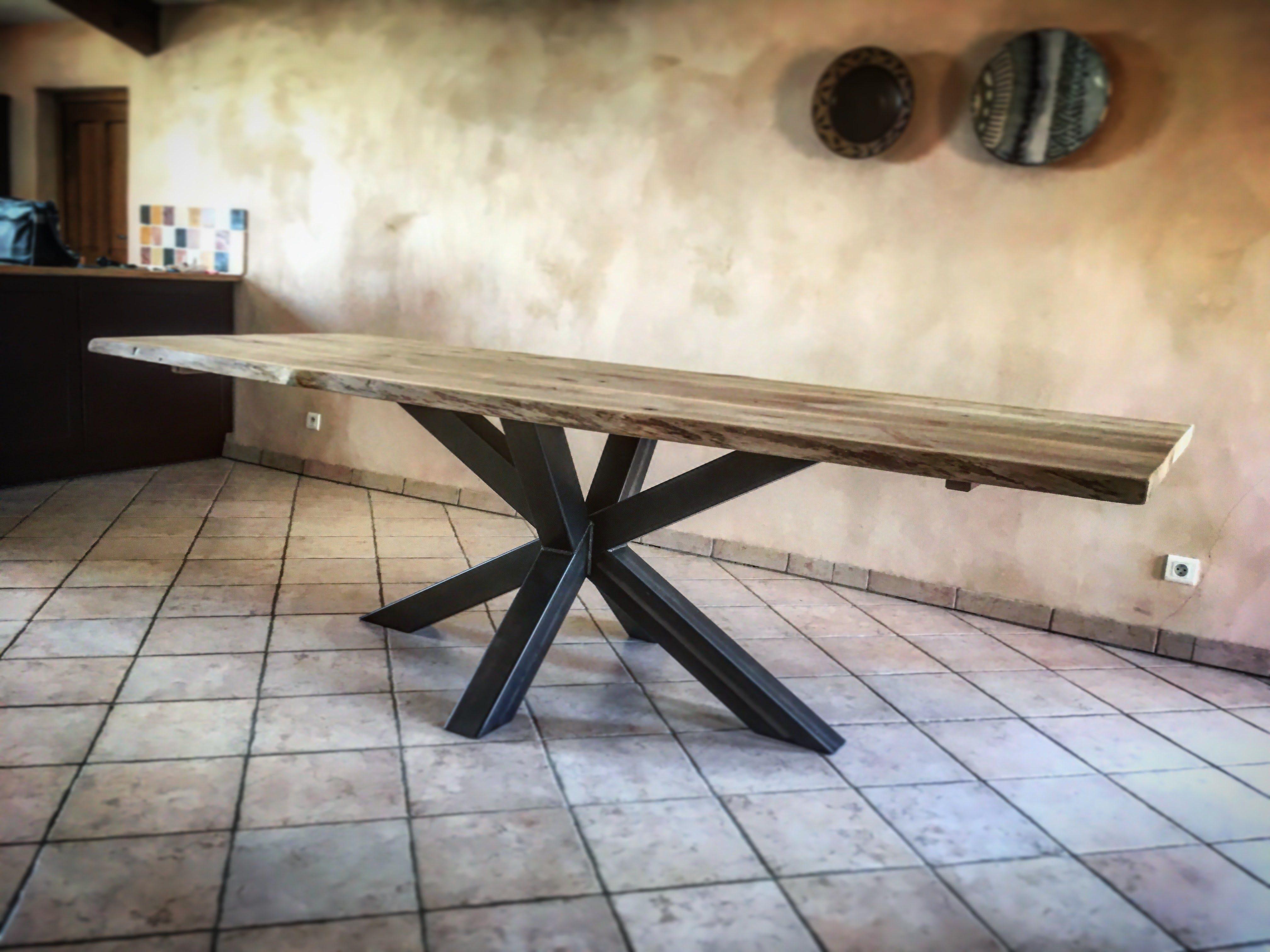Table Bois Mtal Pied Central Acier Cration Design