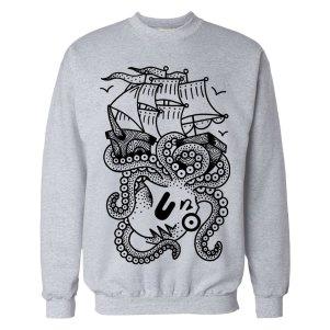 kraken-grey crewneck