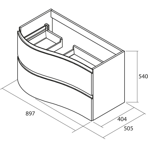 meuble suspendu arrondi droit 2 tiroirs macchiato mam salgar 83856