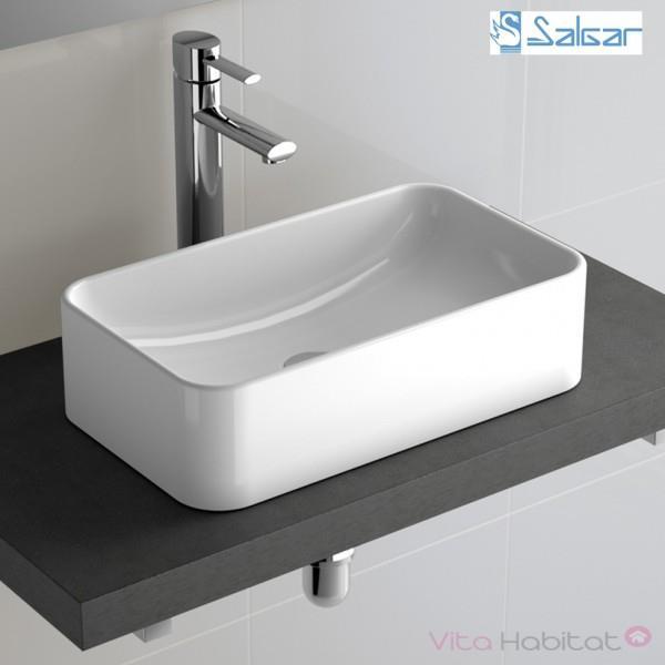 vasque a poser rectangulaire en porcelaine sensation salgar 21739