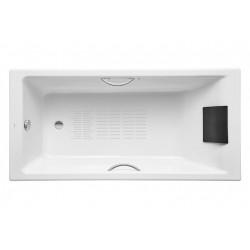 baignoire en fonte emaillee avec appuie tete 1750x850 blanc belice roca a233550000