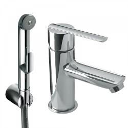 mitigeur lavabo pour bidet wc douchette hygienique a poussoir et flexible satin tres 181113