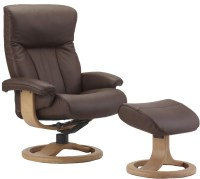 Fjords Scandic Ergonomic Leather Recliner Chair + Ottoman ...