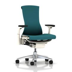 Herman Miller Embody Chair Used Office With Footrest Peacock Rhythm White Frame