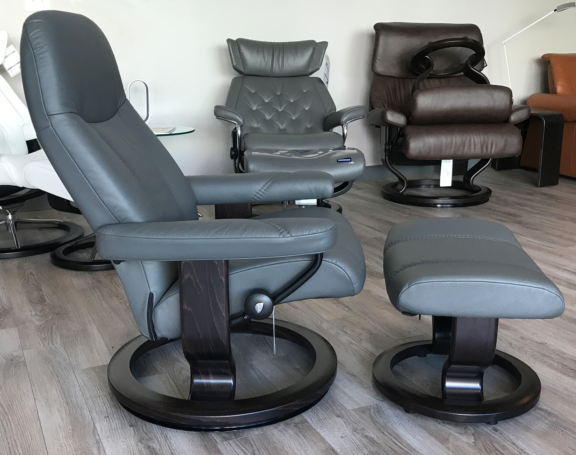 navy blue chair with ottoman covers cape town stressless consul recliner and batick grey leather by ekornes - ...