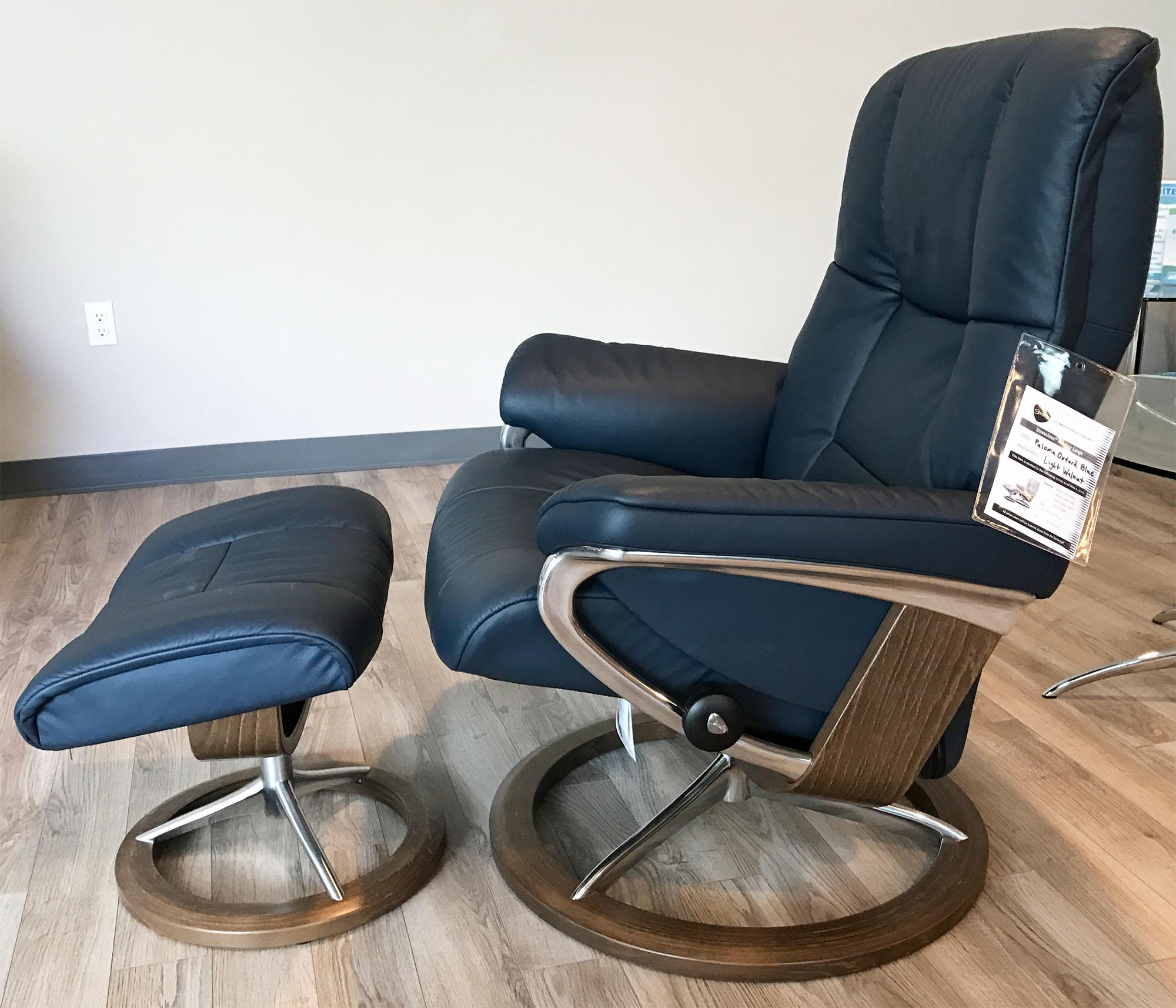 blue recliner chair camo computer stressless mayfair signature walnut wood paloma oxford