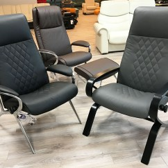 Brown Leather Recliner Chair Mobile Nail Table And Stressless You James Aluminum In Batick
