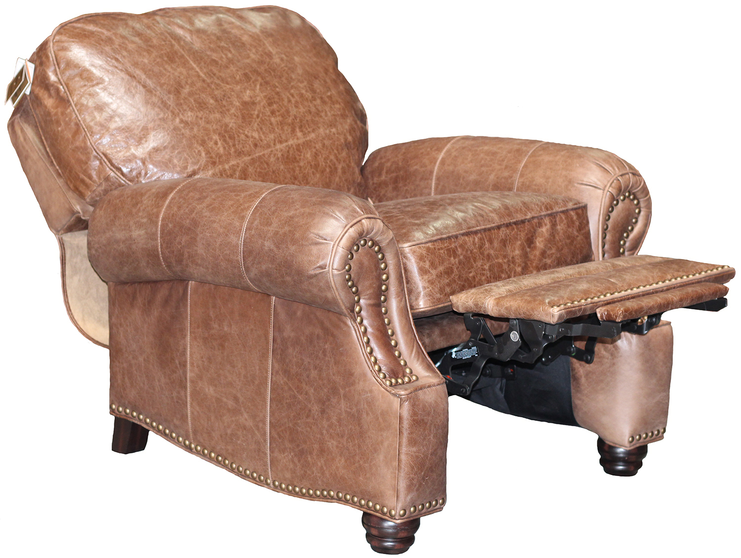 brown leather recliner chair aluminum web lawn chairs barcalounger longhorn ii