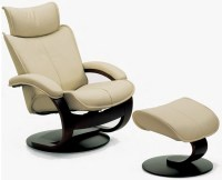 Fjords Ona Ergonomic Leather Recliner Chair + Ottoman ...