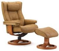 Fjords Regent Ergonomic Leather Recliner Chair + Ottoman ...