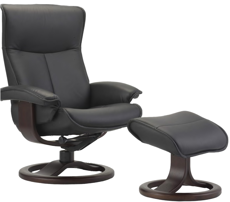 Fjords Senator Ergonomic Leather Recliner Chair + Ottoman