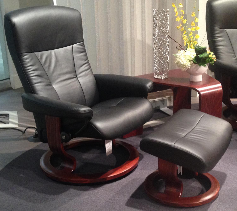 Stressless President Paloma Light Grey Leather Recliner