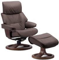 Fjords Grip Ergonomic Leather Recliner Chair + Ottoman ...
