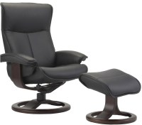 Fjords Senator Ergonomic Leather Recliner Chair + Ottoman ...