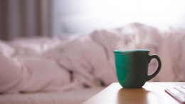 coffee cup bed bedroom