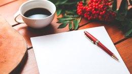 coffee cup desk pen