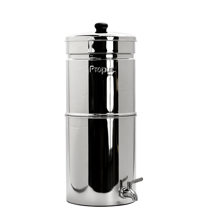 simple water filter, stainless steel, canister, gravity fed, propur nomad