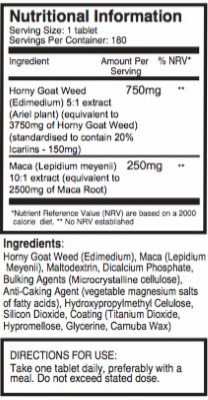 Pureclinica Epimedium & Maca ingedients