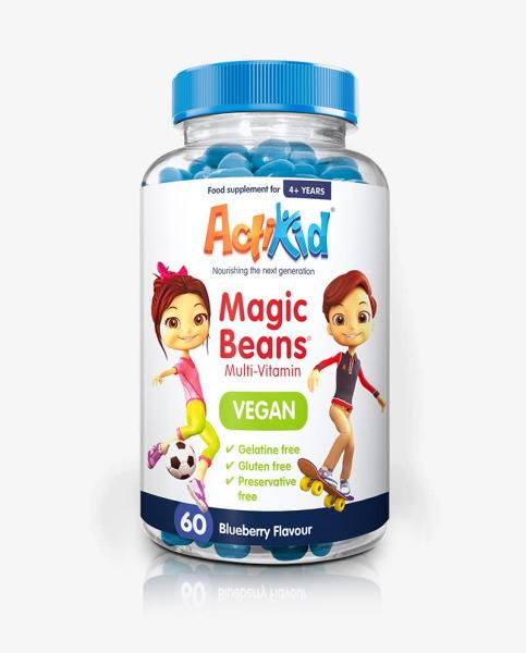 Actikid Magic Beans Multi-Vitamin Blueberry – Vegan x 60