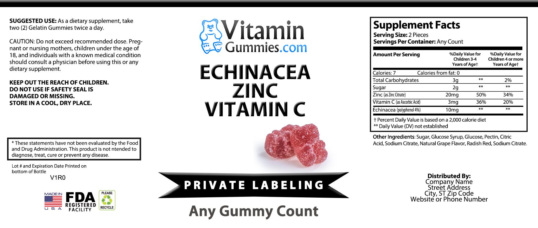 Private Label Echinacea, Zinc & Vitamin C Gummy Vitamin