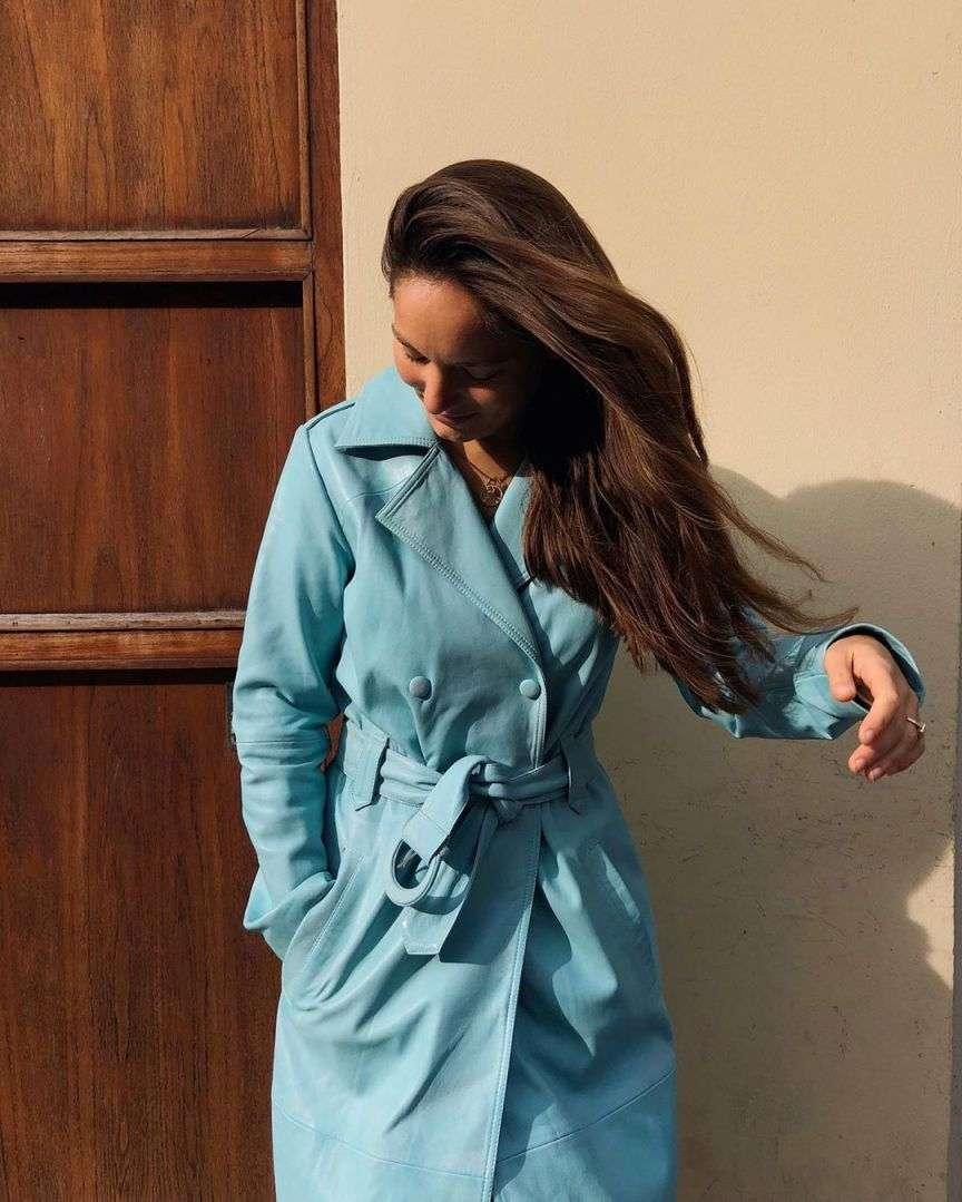 cappotto pelle azzurro