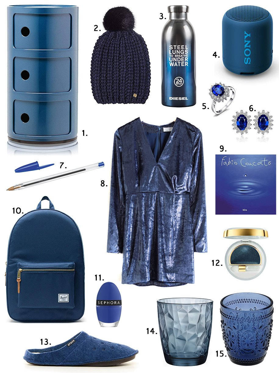 classic blue shopping collage