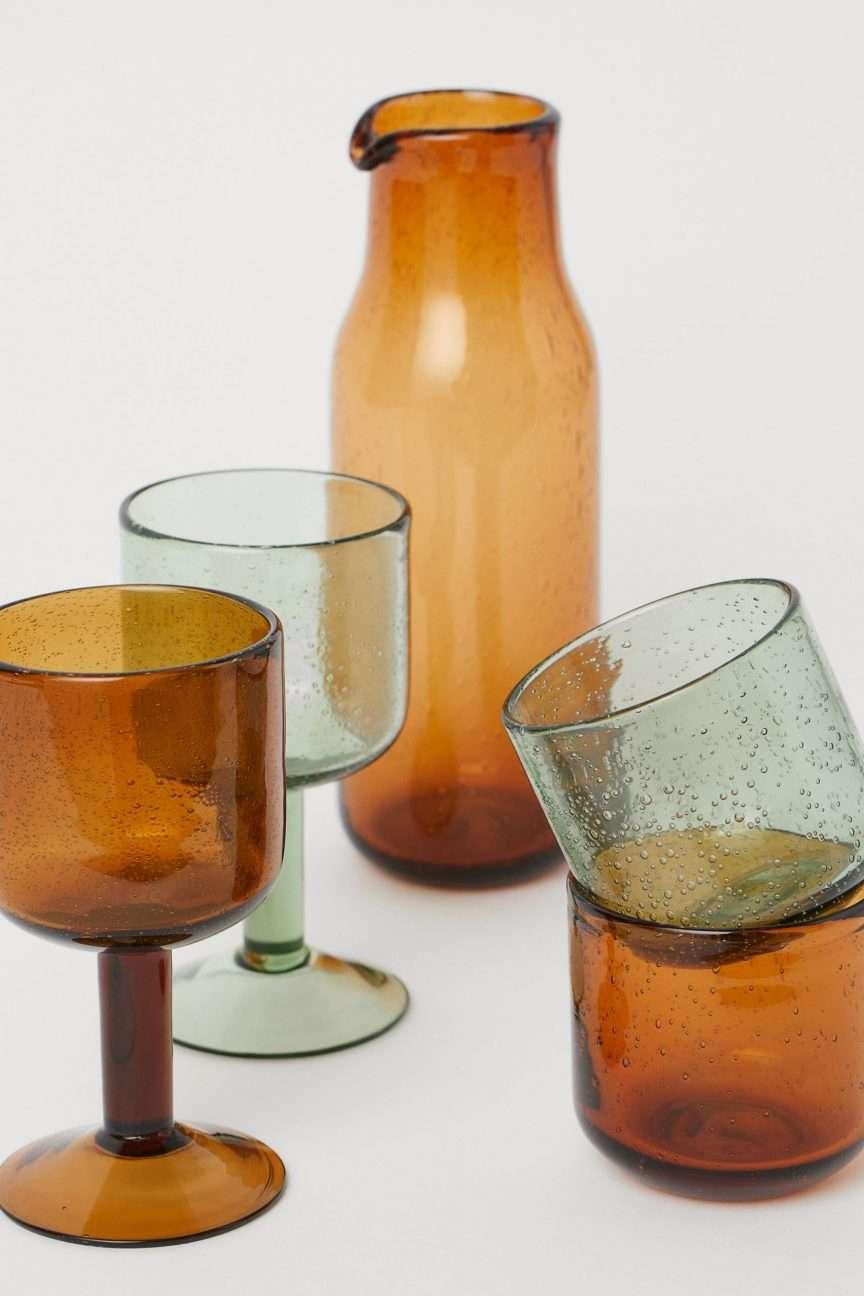 bicchieri colorati ambra e verde