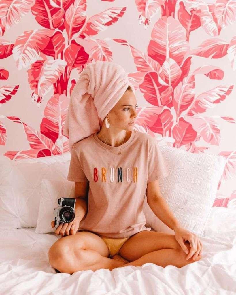 foto asciugamano in testa
