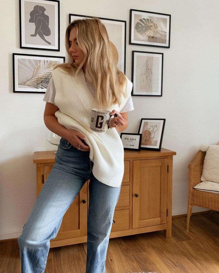 moda del gilet in maglia