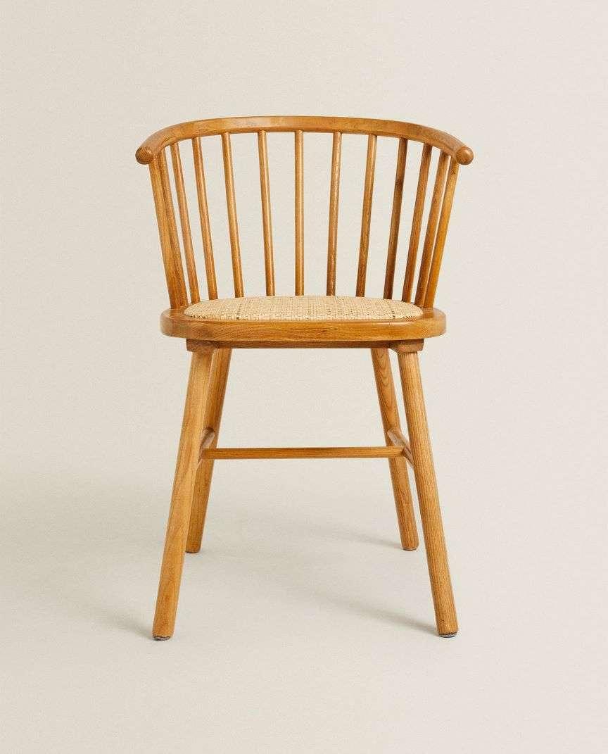 sedia in legno e rattan di zara