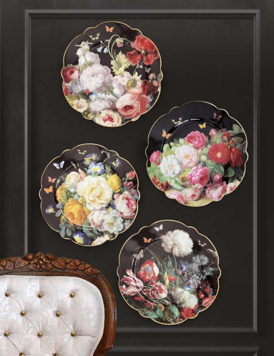 porcellane nere con i fiori