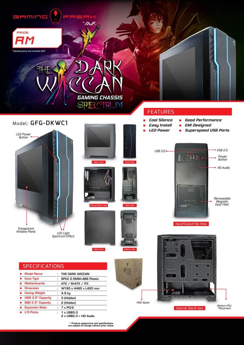 Vỏ thùng Case Gaming Freak GFG-DKWC1 Dark Wiccan chính hãng