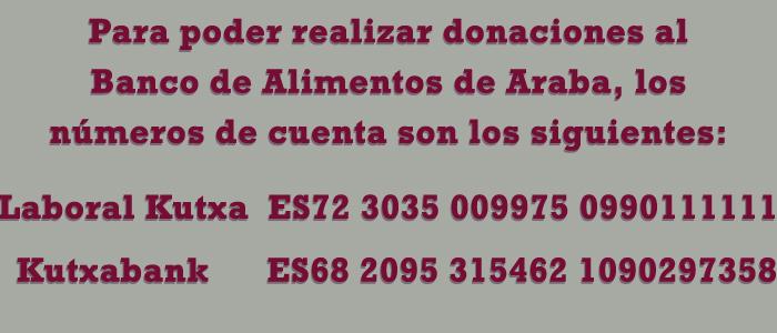 Cuentas bancarias del BAA para contribuir con donaciones