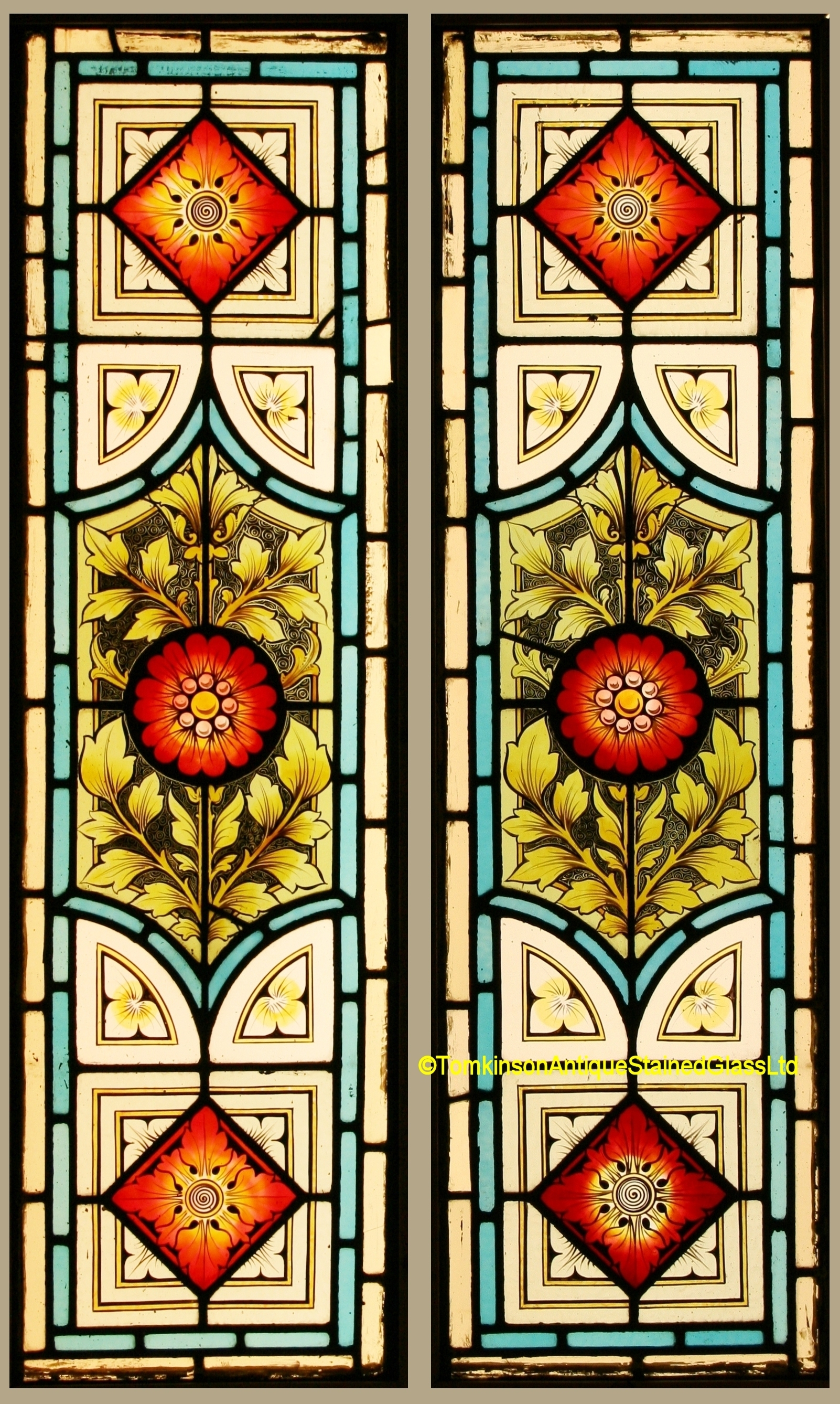 Ref Vic570 2 Victorian Stained Glass Windows Stained