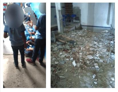 Crianças são flagradas comendo no chão do refeitório do educandário no Cariri