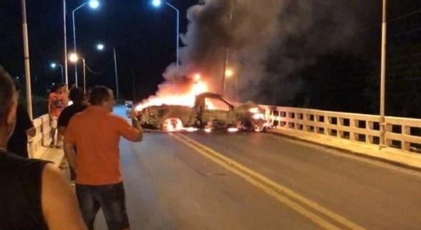 Grupo explode agência bancária na PB e coloca fogo em carro