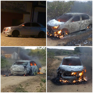 Após usar carro para assalto, bandidos tocam fogo em veículo de empresário de Juazeirinho