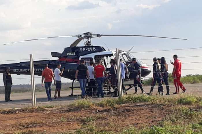 Estado grave: Vítima de acidente com triciclo é transferido de helicóptero para Campina Grande