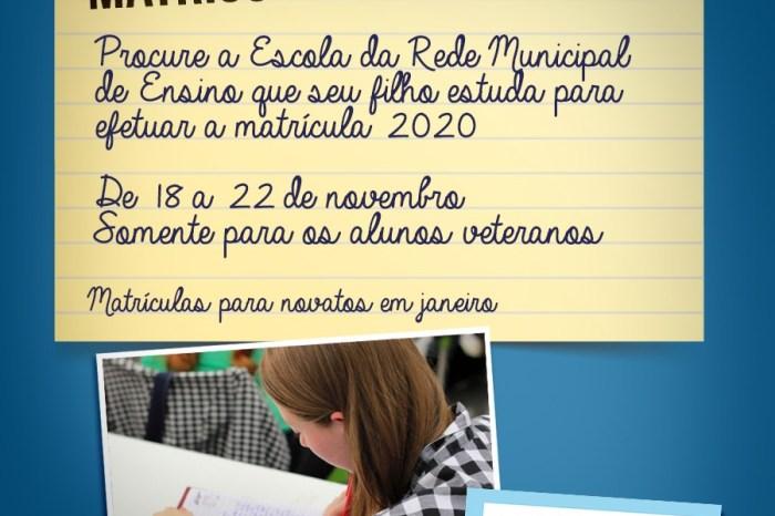 Matrículas para alunos veteranos do município tem início na próxima segunda-feira