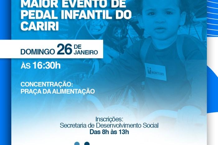 4º Pedala Kids acontece dia 26 de janeiro e promete movimentar o centro de Monteiro