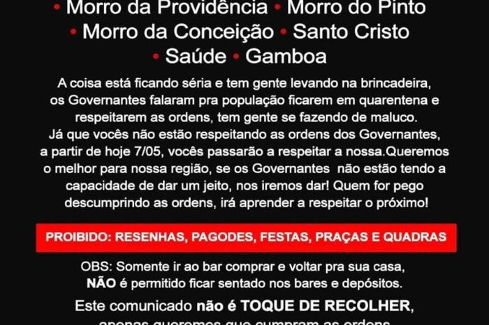Tráfico impõe toque de recolher e uso de máscara em favelas do Rio