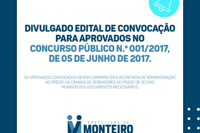 Prefeita de Monteiro realiza 13ª convocação de aprovados no concurso 2017/001